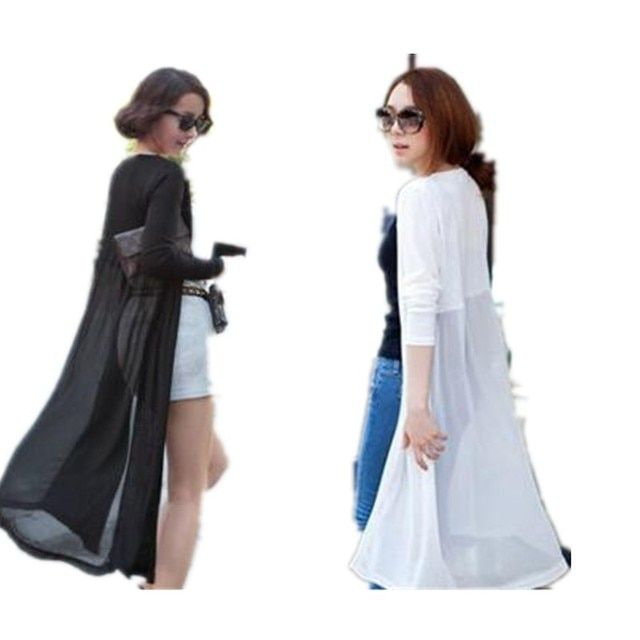 2017 Gauze Thin Trench Outerwear Cape Modal Chiffon Patchwork Medium-long Sun Protection Clothing Female Long-sleeve Cardigan
