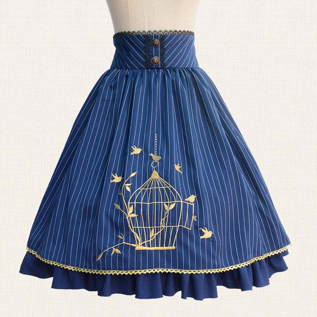 2017 Fall Classic Lolita Skirt Vintage Style Striped A Line Skirt with Cage Embroidery
