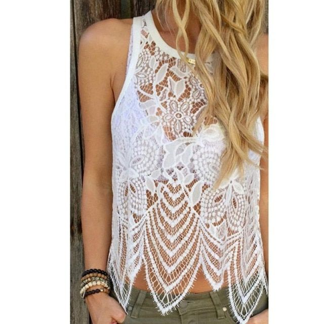 Blusas Sexy Hollow out Summer White Women Lace Crochet Vest Tank Top Casual Sleeveless Blouse  vetement femme f1