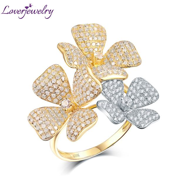 Loverjewelry Top Quality Real 18K Two Tone Gold Diamonds Ring Charming Wedding Flower Diamond Rings for Wife Luxury Fine Jewelry