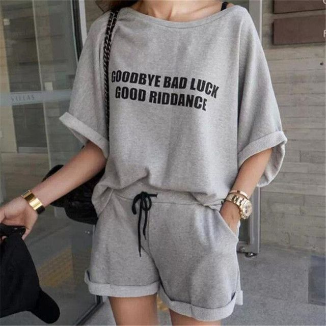 two piece set 2016 new fashion Lovely printing Letter Tie Leisure time Easy 2 piece set women harajuku shorts t shirt women