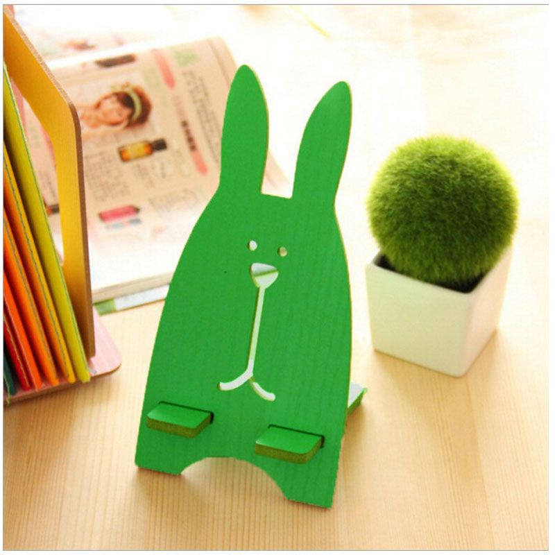 T jailbreak rabbit mobile phone bracket Korean wooden lazy bed phone holder charging bracket for iphone for Android phone stents