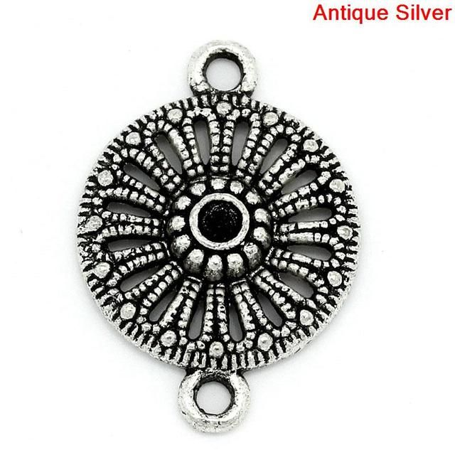 DoreenBeads Zinc metal alloy Connectors Findings Round Antique Silver Hollow Inlaid (Hold ss10 Rhinestone)21x15mm,7 PCs