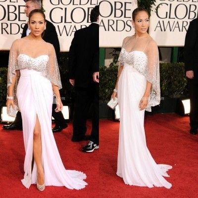 New Jennifer Lopez Sexy Chiffon White A Line Red Carpet Celebrity Prom Dresses Backless Custom Made Hot Sale Women Vestido