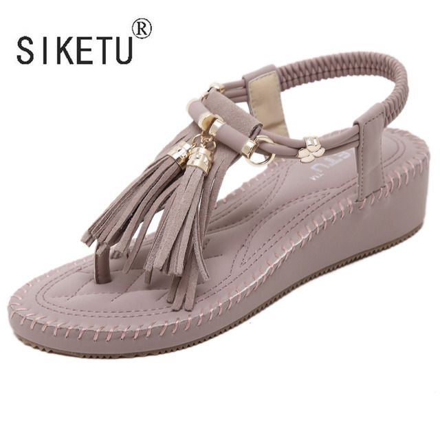 2017 New Summer Comfortable Women Sandals Metal Fringe Clip Toe Flat Sandals Shoes 35-40 SIKETU Brand