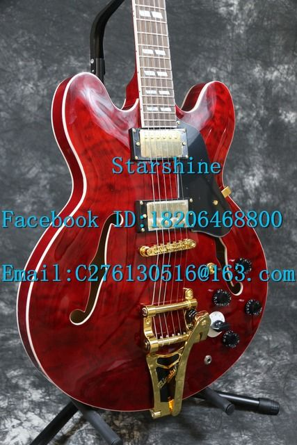 Instock Starshine high quality  1964 SR-MES-345G Semi hollow body electric guitar  quilted maple top korean hardware