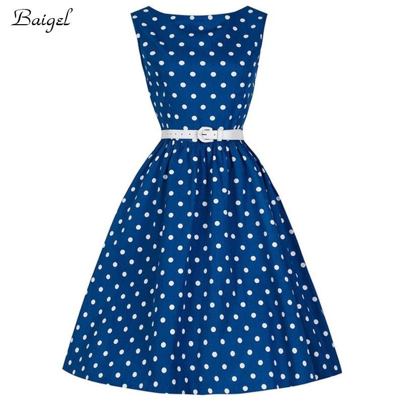 Womens Sleeveless Polka Dot Summer Vintage Dress 1950s 60s Retro Style Rockabilly Pinup Swing Blue Red Black Dress with Belt
