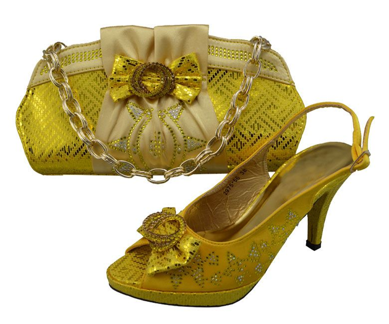 wholesale italian design shoes with evening bag for African lady high quality GF20 gold