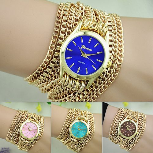 Women Men Adjustable Clasp Golden Chain Band Bracelet Jewelry Wrist Watches