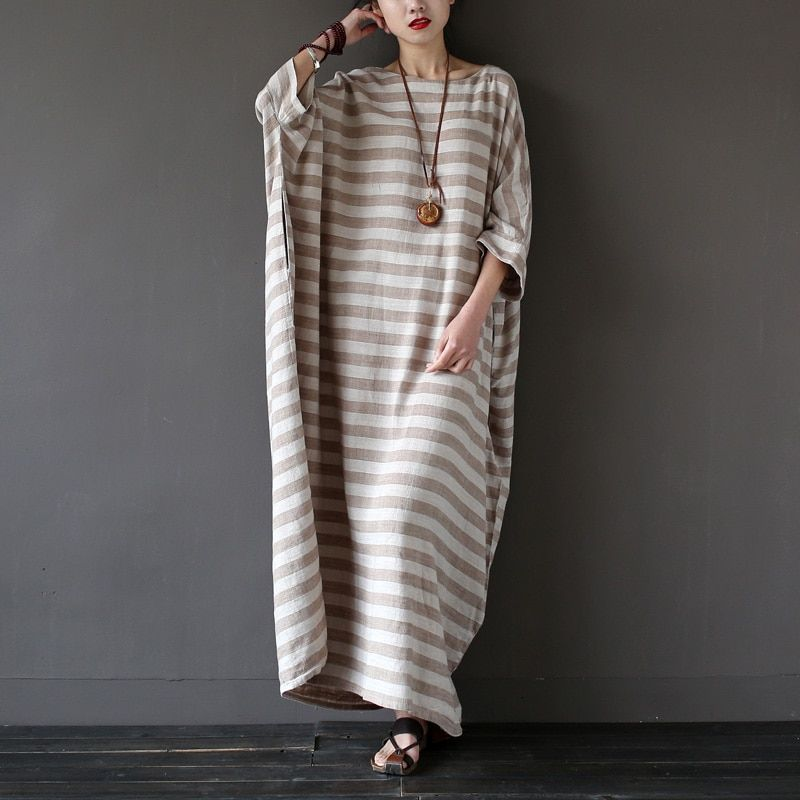 Casual Dress 2019 Spring Autumn Dress Original Design Striped Gown Oversized Loose Plus Size Female Long Linen Dress S193