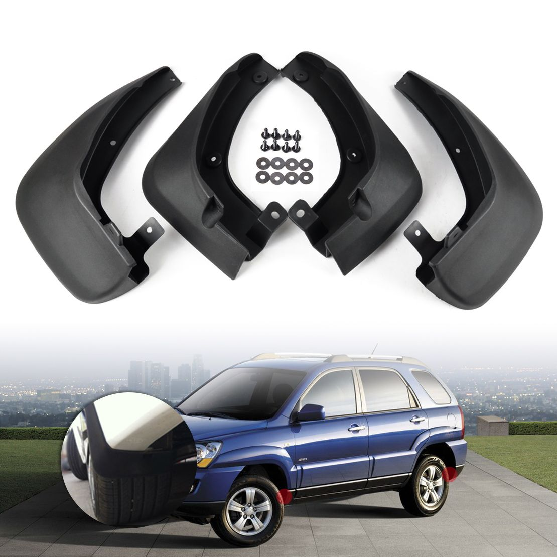 DWCX 4pcs Mud Flaps Splash Guards Mudguard Mudflaps Fenders For KIA Sportage 2005 2006 2007 2008 2009 2010