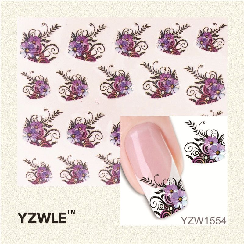 YZWLE DIY Decals Nails Art Water Transfer Stickers For Manicure Salon Beauty Purple Flowers Black Leaf Design Manicure Tool