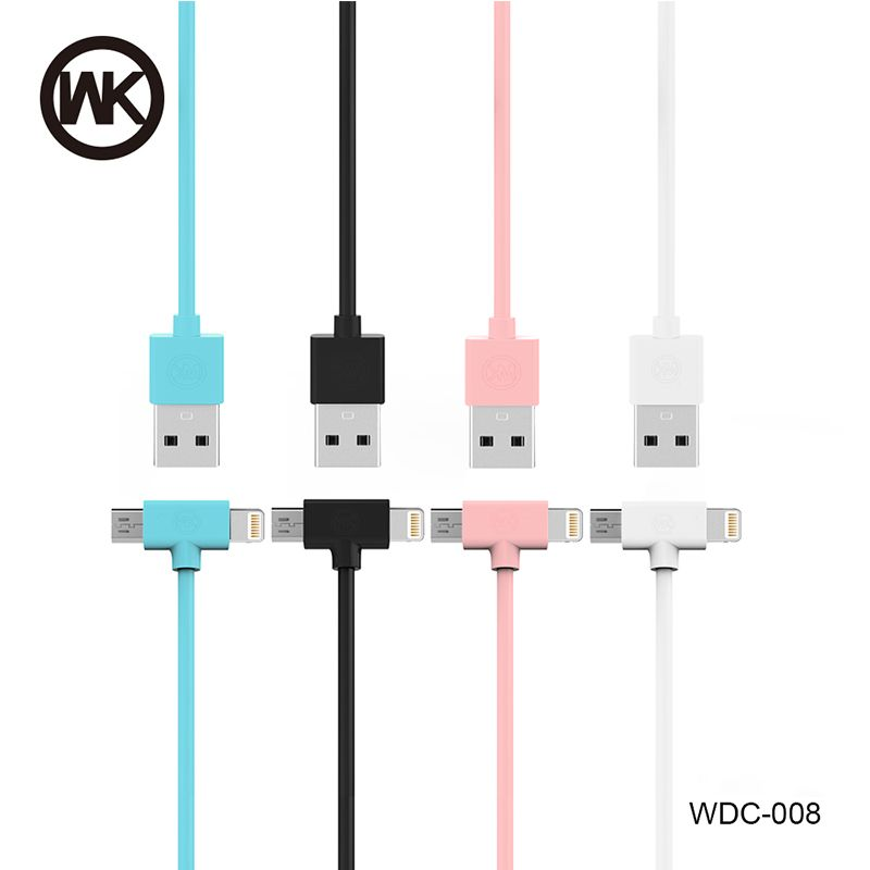 WK USB Cable Micro USB charger cable For iPhone 7 6 6s Plus 5s /Samsung/for Xiaomi/Huawei 2 in 1 Phone Data Line micro cable