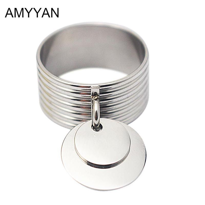 Fashion jewelry unisex rings with double round charms stainless steel metal punk silver pendant ring for women dangle charm ring