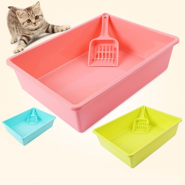 [With Scooper] Cat Bedpans Semi Closed Anti-splash Cat Toilet Pet Cat Litter Box Plastic Bedpan Katzen Bedpans Products For Cats