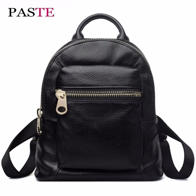 PASTE Luxury Genuine Leather Mini Backpack Women Cute Designer Korean Mochila Kanken  Black Harajuku School Bag  For Girls