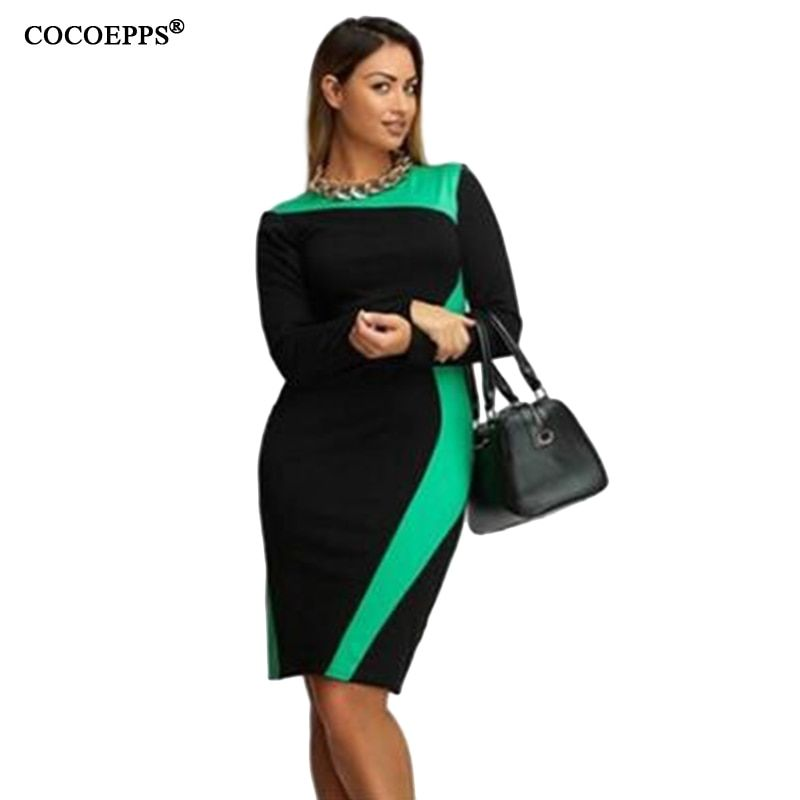 fashionable women dresses big sizes 2019 plus size women clothing 5xl winter dress casual o-neck Patchwork office bodycon Dress