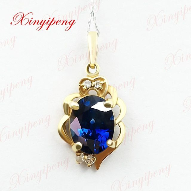 18k yellow gold with 100% natural sapphire pendant female 1.5carat  Fine jewelry and personality blue