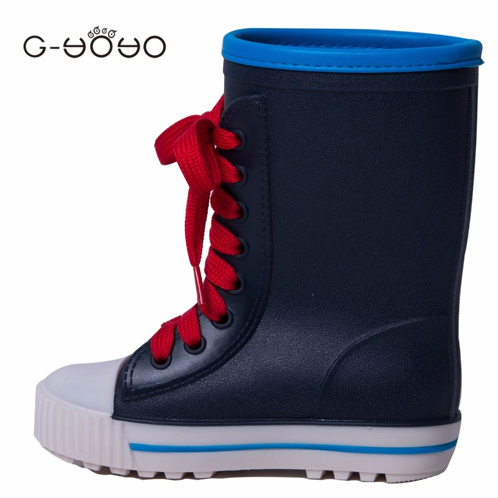 G-YOYO 2017 New version autumn Little Boys Girls Rain Shoes Children Kids Of PVC Lace Up Rain Boots Waterproof