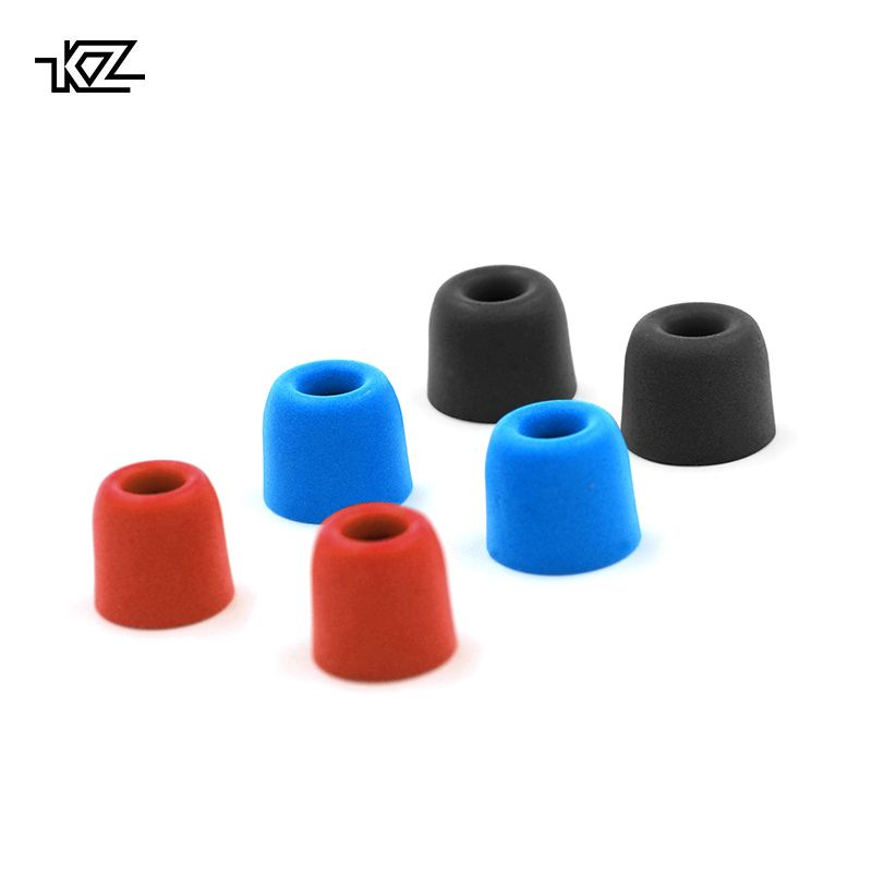 KZ Original 3Pair(6pcs) Noise Isolating Comfortble Memory Foam Ear Tips Ear Pads Earbuds For In Earphone Headphones Red Blue