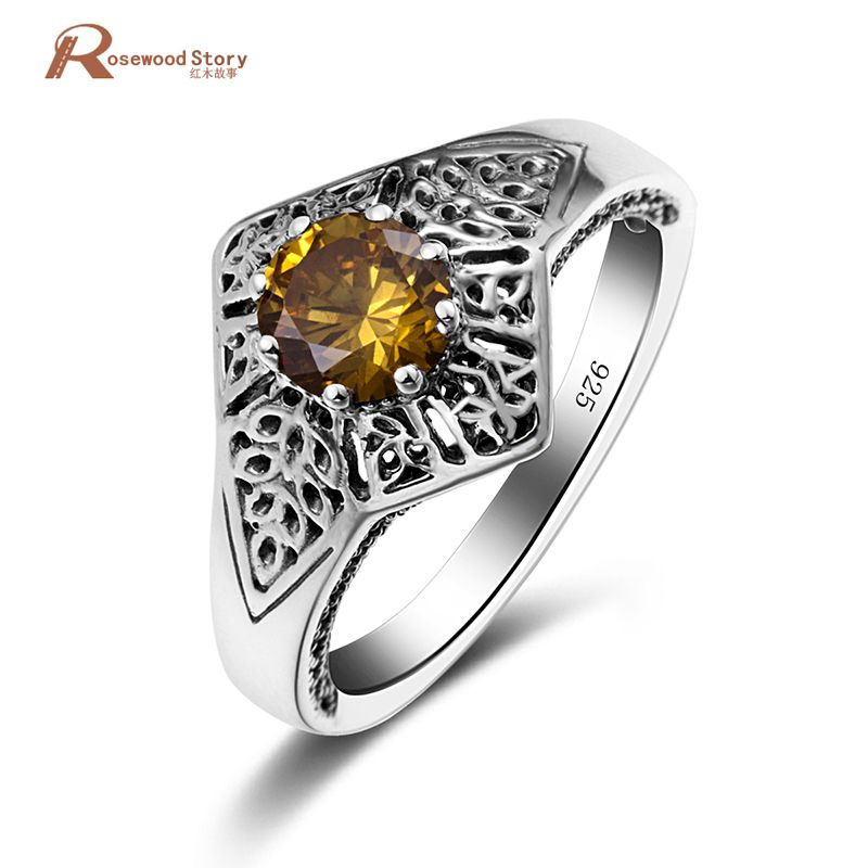 Fashion Vintage Charm Jewelry Yellow Stone Crystal Real 925 Sterling Silver Ring For Female Lover Gift Wedding Engagement Ring