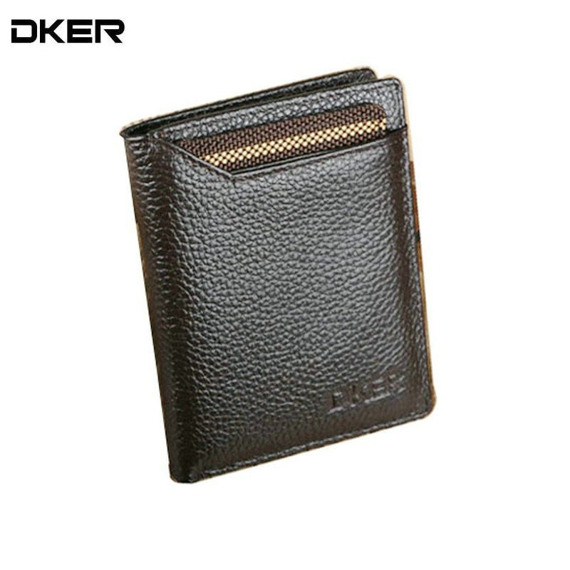 DKER Genuine Leather Male Purses Brown Men Wallets with Card Holder Vertical & Horizontal Purse for Men Brand Men Wallets