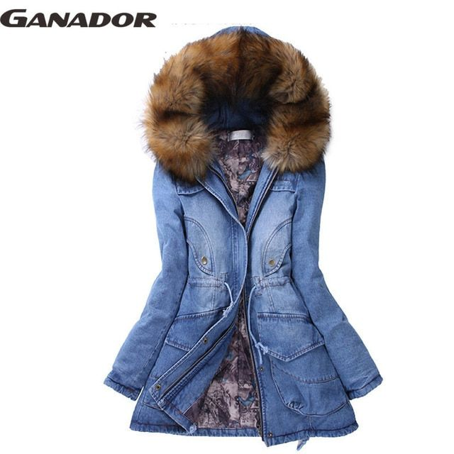 Ganador New Fashion Winter Coat Jacket Women Causal Denim Cotton Coat Women's Warm Collar Hooded Parkas Long Overcoat AS1798b