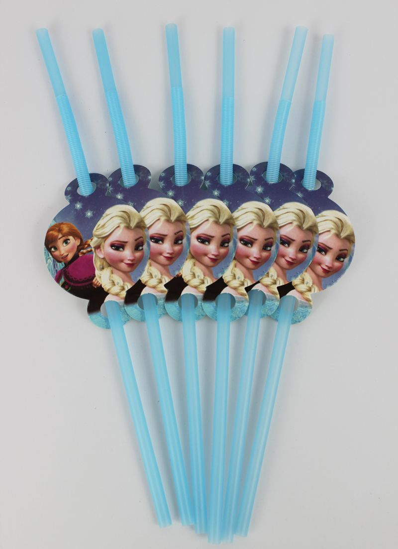 12pcs/lot  Frozen Theme Party Straws Supplies Kids  Girls Boys Birthday Party Drink Straws Decorations Party Supply