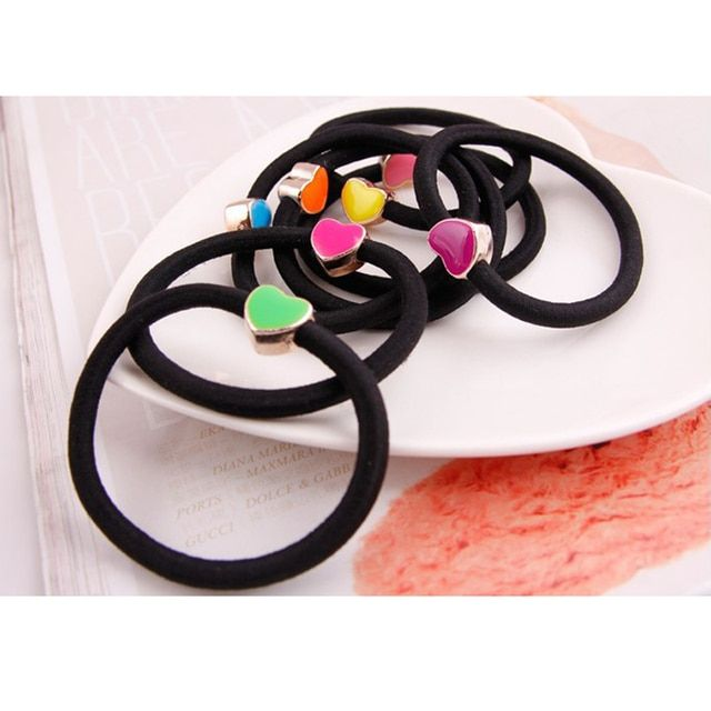 10pcs/lot 55mm Enamel Heart Bowknot Star Butterfly Black Elastic Ponytail Holders Hair Accessories Girl Women Rubber Band Mixed