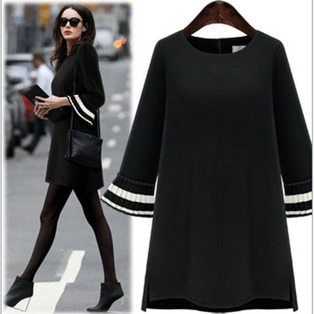 2016 new arrival autumn winter new brand o neck half ruffles sleeve brief  a line mini loose dress
