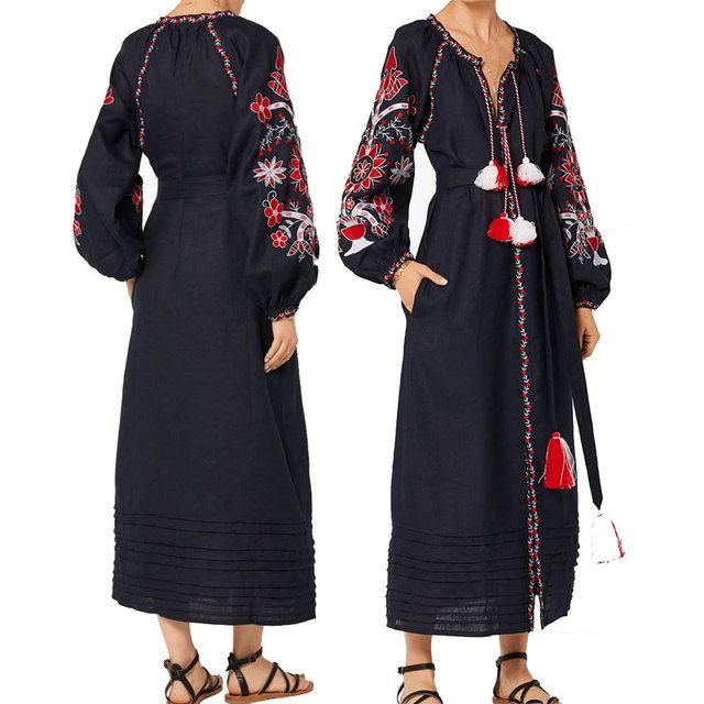 linen maxi dress embroidered red white floral pattern tassles women dress Ukrainian Vyshyvanka hippie chic style brand clothing