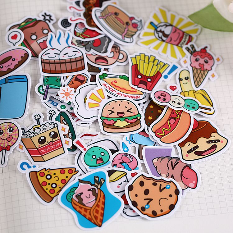 40pcs Self-made Cute Western Food Scrapbooking Stickers DIY Craft DIY Sticker Pakc Photo Albums Deco Diary Deco