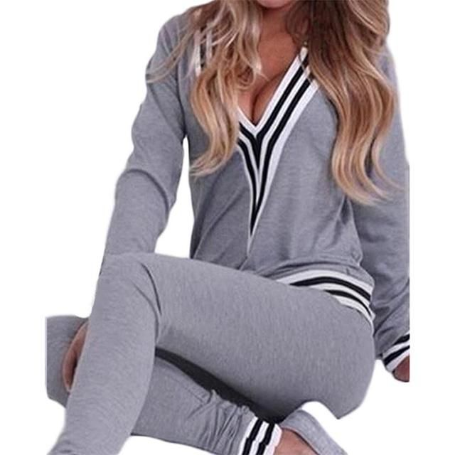 NCLAGEN Women Tracksuit Brand Hoodies Track Suit Set V Neck Sexy Sweatshirt+Pant Gray Black Outfits Costumes Plus Size S-XL