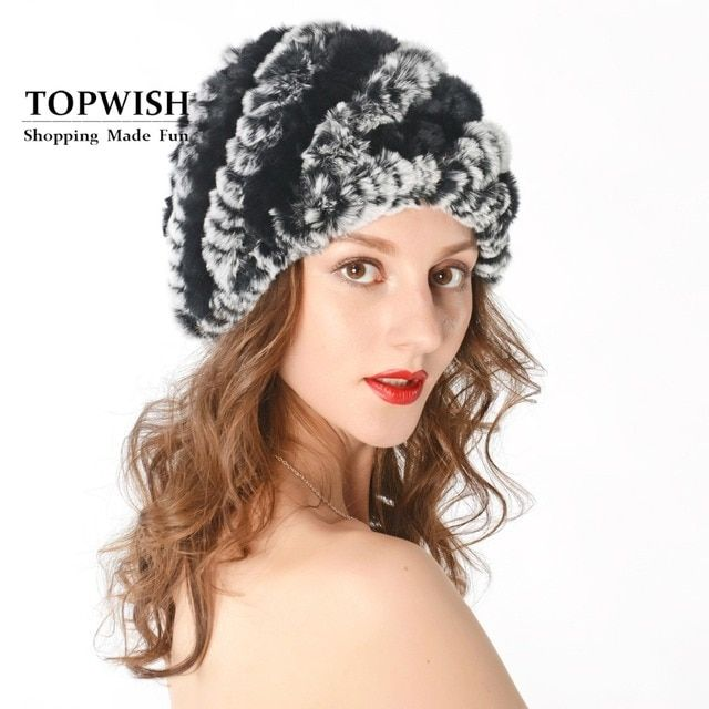 Women Genuine Knitted Rex Rabbit Fur Hats Natural Stripe Rex Rabbit Fur Caps lady winter warm Headwear free shipping TFP536