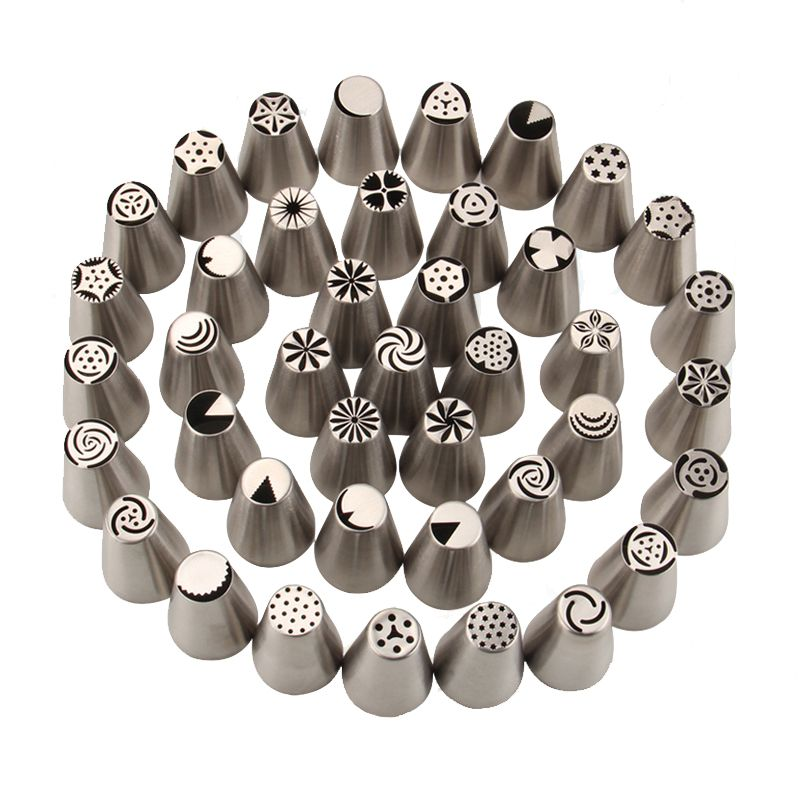 57PCS/set Stainless Steel Russian 3D Tulip Nozzles Icing Piping Tips Pastry Tubes Set Cake Decorating Tools Rose Flower Shaped