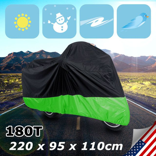 UXCELL L 180T Rain Dust Motorcycle Cover Black+Green Outdoor Waterproof Uv Protector