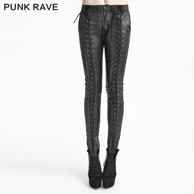 Gothic Fashion Visual Kei Party Arwen Tight Lacing Cosplay Jeans Women Pants K229