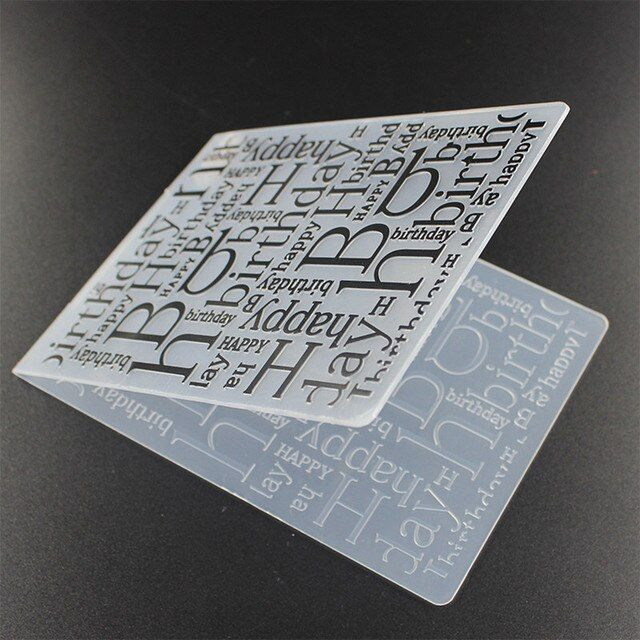 Letter Happy Birthday Plastic Embossing Folders for DIY Scrapbooking Embossing Paper Craft Card Making Decoration Supplies