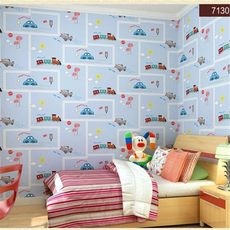 beibehang friendly Lovely Cartoon Cars Wallpapers Roll Kids Room Decoration Wall Paper roll Non-woven Boys Bedroom Wallpaper