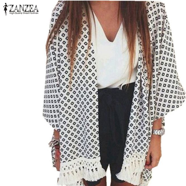 Hot Sale Summer Style Blusas 2017 Women Tassel Kimono Vintage Plaid Printed Cardigan Casual Loose Batwing Sleeve Tops Blouses