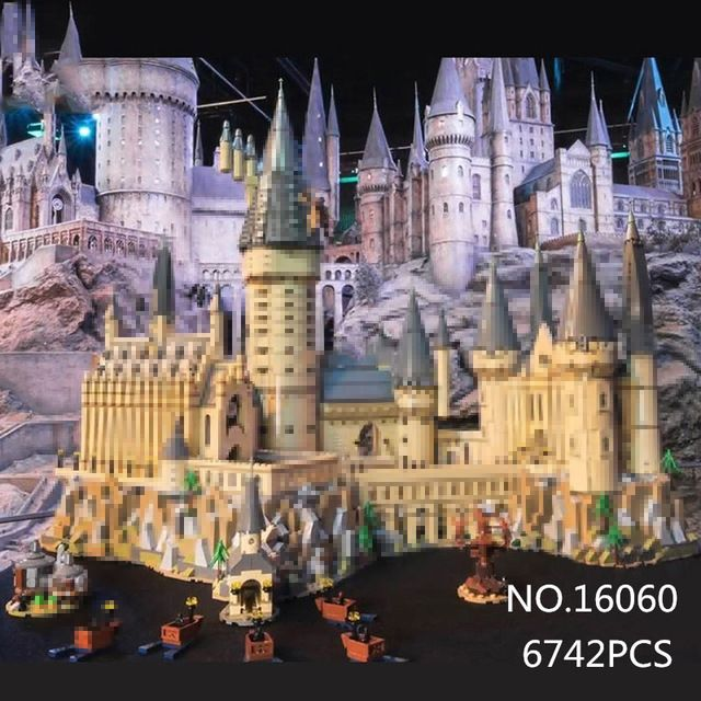 In stock 16060 Harry Movie Series The Legoinglys 71043 Hogwarts Castle Set Building Blocks Bricks House Model Christmas Toys