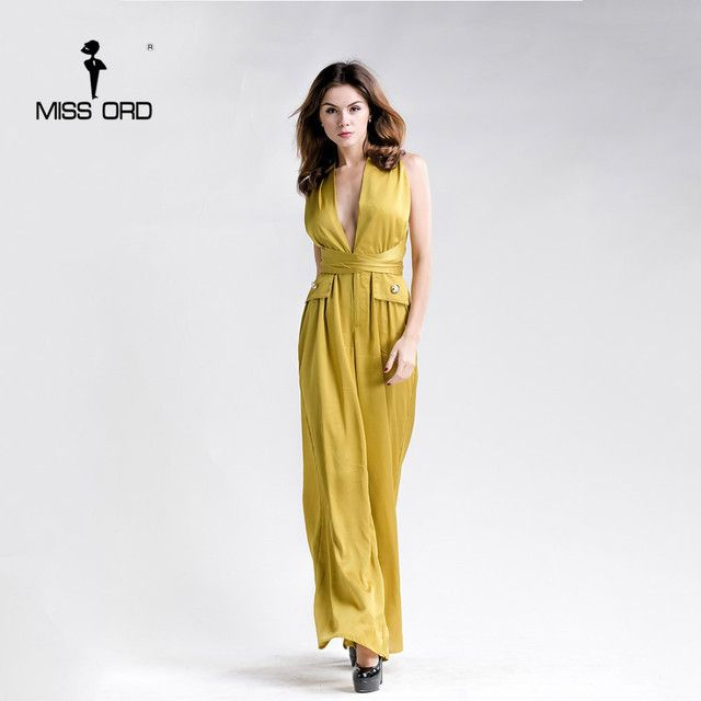 Free Shipping Missord 2017 Sexy v-neck sleeveless halter jumpsuit FT5156