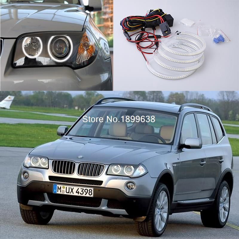 4pcs Super bright red blue yellow white 3528 smd led angel eyes halo rings car styling for BMW E83 X3 2003-2010