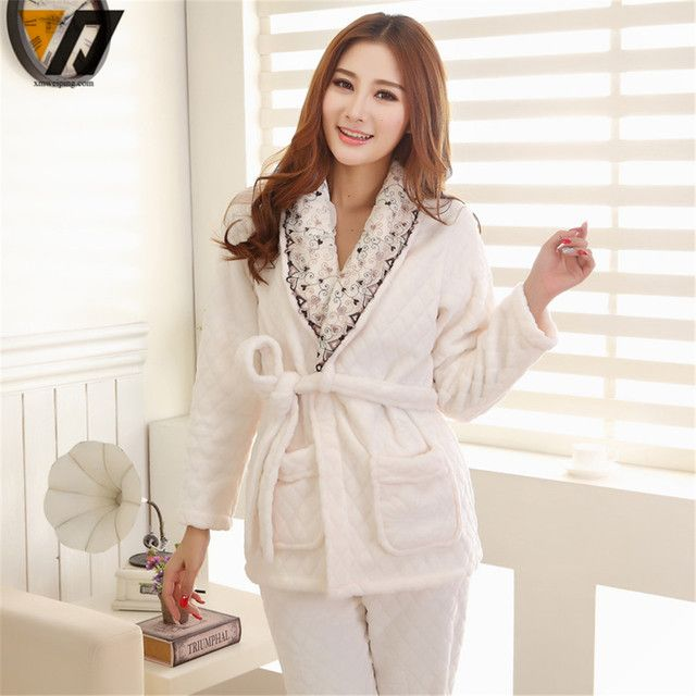 Hombre Thicken Women Onesie Flannel Pajamas Sets Soft Coral Fleece Tie Rope Nightgown White L-XXL