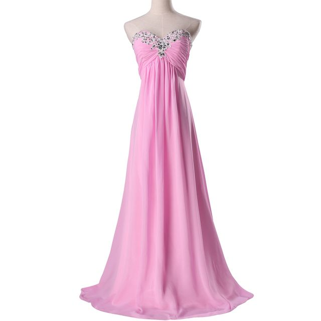 2017 Pink Chiffon Bridesmaid Dresses Sweetheart Ruffles Beaded Long Party Dress Plus Size Bridesmaids Dress Real Samples