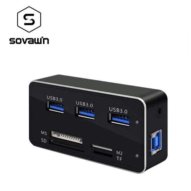 Multi 7 In 1 USB 3.0 Card Reader Front Panel 3 USB Ports SD MS M2 TF External Adaptor Combo Cardreader High Speed / High Quality