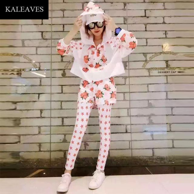 Novelty 3 Piece Women Sets 2016 New Arrival Fashion Long Sleeve Zipper Top With Cap +Slim Calf-Length Pant Pants Print Hot Suit
