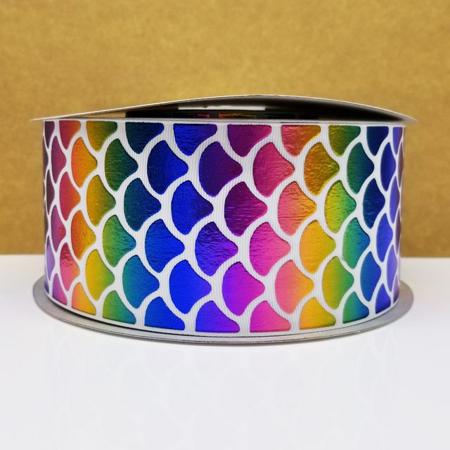 Free shipping 50 yard 3 inch rainbow foil printed grosgrain ribbon