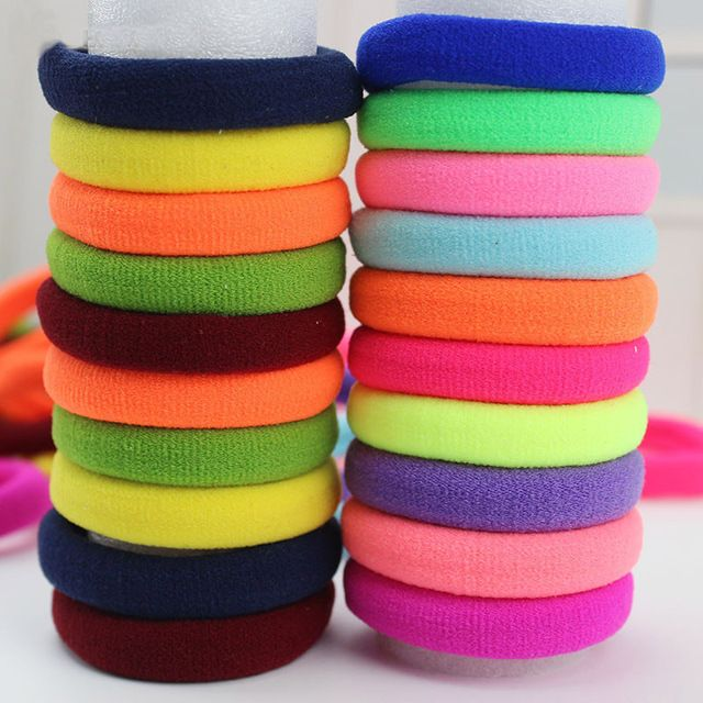 100pcs/lot Fashion Women Girl Candy Fluorescence Colored Hair Holders Rubber Bands Elastics Hair Accessories Girl Women Tie Gum