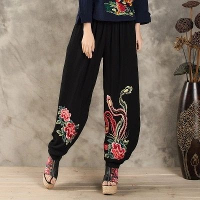 Chinese clothing store 2017 plus size women clothing female summer long thin elastic waist black embroidery harem pant trousers